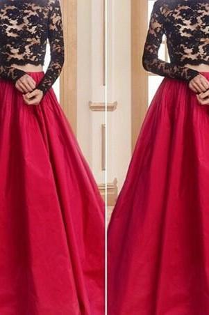 Prom Dresses,Evening Dress,Prom Gown,Two Piece Red Bateau Neck Court Train Taffeta Crop Tops A Line Prom Evening Dress