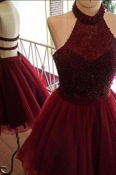 Prom Dresses,Sexy Red Short Prom Dress,Red Homecoming Dress, Burgundy A line Homecoming Dress,Beading Party Dress,Homecoming Dresses,Charming Prom Homecoming Dress