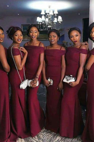 Prom Dresses,Burgundy Mermaid Prom Dresses Off-the-Shoulder Long Sexy Bridesmaids Dress,Burgundy Bridesmaids Dress,Long Dress For Bridesmaid,Wedding Party Dress,New Style Bridesmaids Dress,Bridesmaids Dresses