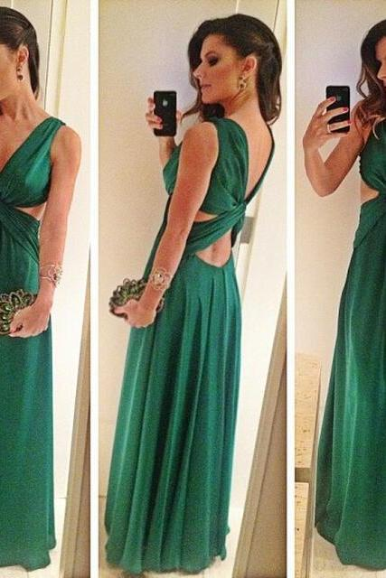 Prom Dresses,Evening Dress,Green Prom Dresses,Chiffon Evening Gowns,Modest Formal Dresses,Backless Prom Dresses,New Fashion Evening Gown,Open Back Evening Dress,Open Backs Evening Gowns