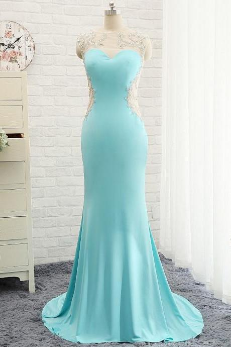 Prom Dresses,Evening Dress,Modest Prom Dresses,Sexy New Prom Dress,Goregeous Blue Crystal Summer Prom Dresses Mermaid Long Open Back Evening Gowns