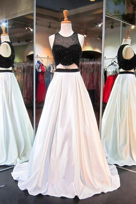 Prom Dresses,Evening Dress,Prom Dresses,Prom Dress,Sweep-Train Beads Two-Piece Newest A-line Sleeveless Evening Dress