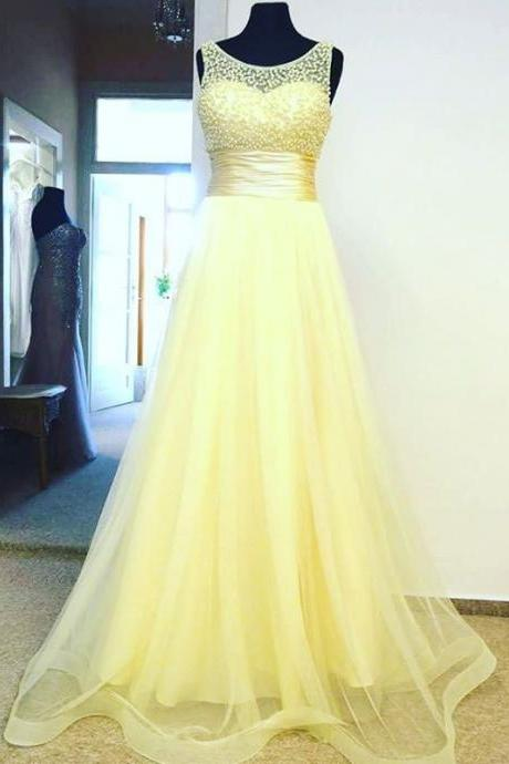 Prom Dresses,Evening Dress,Evening Dress,Prom Dress,Prom Dresses,Yellow Tulle Empire Long Prom Dress , Formal Gown With Beaded Bodice