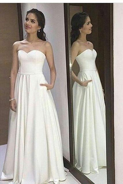 Prom Dresses,Evening Dress,Wedding Dresses,Ivory Strapless A Line Prom Dress, Formal Gown, Evening Dress With Pockets