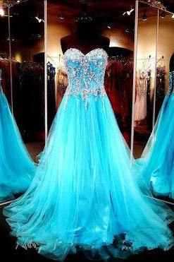 Prom Dresses,Evening Dress,Sexy Prom Dress,Stunning Sweetheart Bodice Beaded Blue Tulle Long Prom Dress,A Line Lace Back Up Prom Gown, Handmade Evening Gowns, Formal Women Dresses
