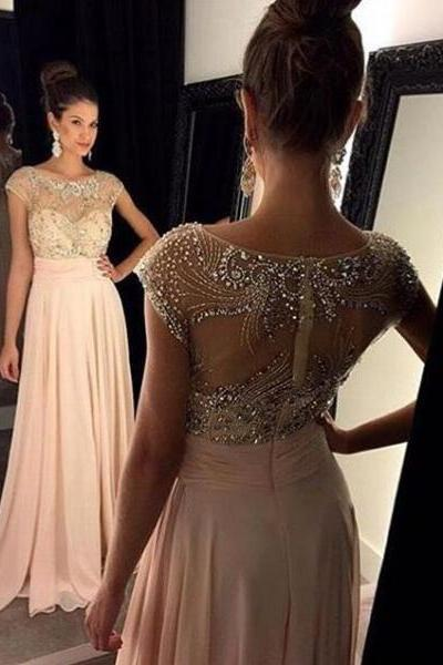 Prom Dresses,Evening Dress,Blush Pink Prom Dresses,chiffon Prom Gowns,Pink Prom Dresses,Long Prom Gown,Sparkly Prom Dress,Sparkle Evening Gown,party Gown