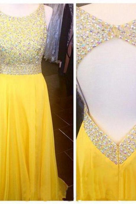 Prom Dresses,Evening Dress,New Arrivals Prom Gown,Yellow Prom Dresses With beads,Sexy Evening Gowns,A Line Formal Dresses,Yellow Prom Dresses
