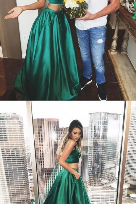 Prom Dresses,Evening Dress,Prom Dresses,Green Prom Gowns,Green Prom Dresses, Party Dresses,Long Prom Gown,2 pieces Prom Dress,2 piece Evening Gown,Party Gown