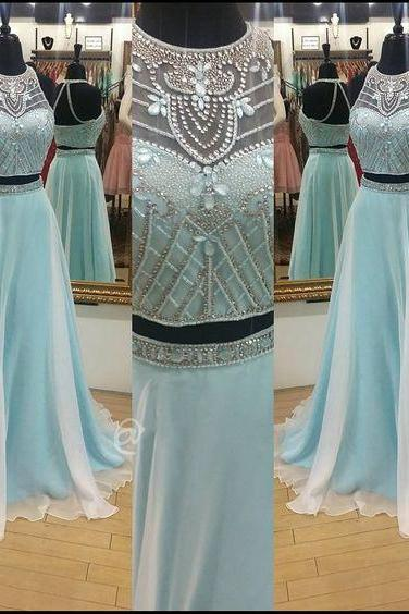 Prom Dresses,Evening Dress,Prom Dresses,Light Blue Prom Dress,New Prom Gown,2 pieces Prom Dresses,Chiffon Evening Gowns,2 piece Evening Gown,sparkle Prom Gowns,sparkly prom dress