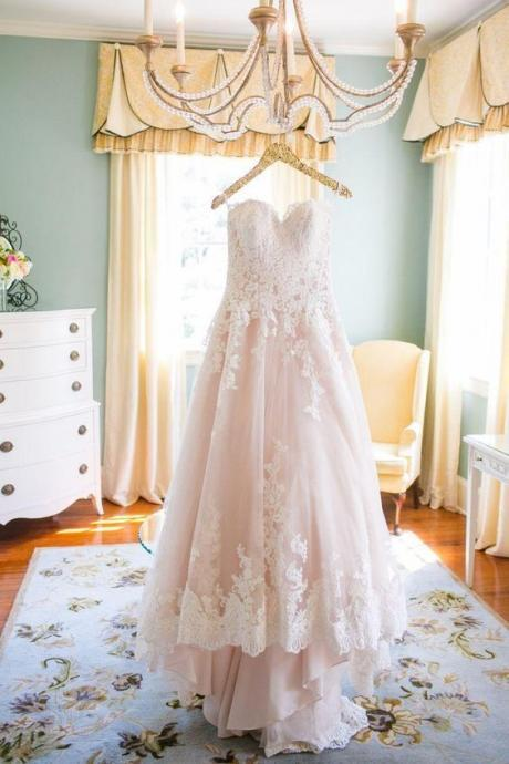 Lovely Wedding Dresses,Long Wedding Gown,Tulle Wedding Gowns,Lace Bridal Dress,Romantic Wedding Dress,Unique Blush Pink Brides Dress,Spring Wedding Gowns,Wedding Dresses