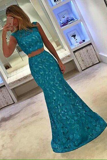 Prom Dresses,Evening Dress,Lace Prom Dresses,Blue Prom Dress,Modest Prom Gown,Blue Prom Gown,Evening Dress,2 pieces Evening Gowns,Mermaid Party Gowns