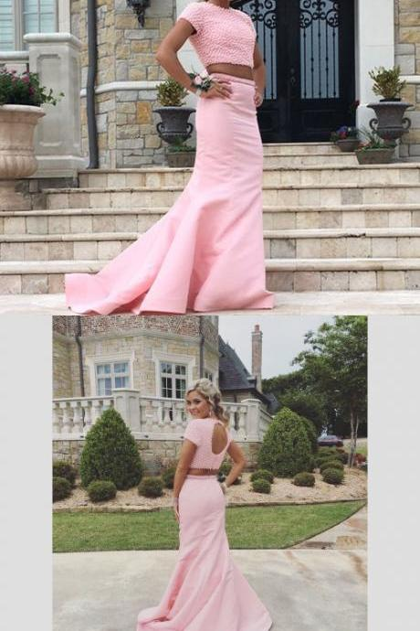 Prom Dresses,Evening Dress,long prom dress,elegant 2 pieces long prom gown,pink graduation dress,sparkle mermaid formal dress