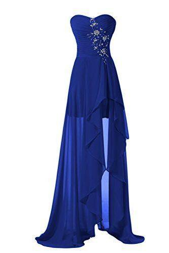 Prom Dresses,Evening Dress,High Low Prom Dresses,Evening Gowns,Modest Formal Dresses, New Fashion Blue Evening Gown,High Low Evening Dress,Long Evening Gowns