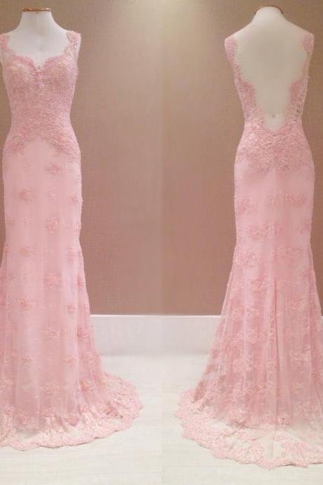 Prom Dresses,Evening Dress,2017 New Style Prom Dress Blush Pink Evening Gowns lace Prom Gowns