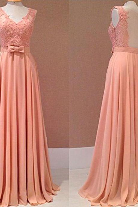Prom Dresses,Evening Dress,2017 New Style Prom Dress Blush Pink Chiffon Evening Gowns