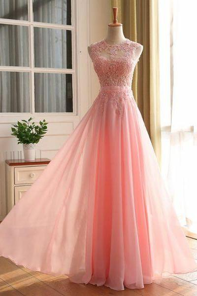 Prom Dresses,Evening Dress,New Arrival Prom Dress,Pink lace long prom dresses,elegant A-line lace long evening dresses,pink formal dress,fashion dress for teens