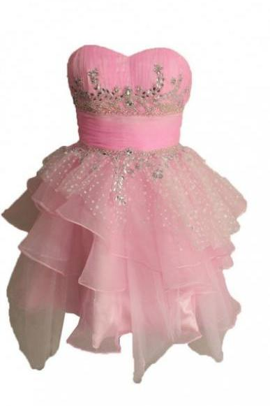 Homecoming Dresses,Cute A-line Strapless Short Tulle Pink Homecoming Dress