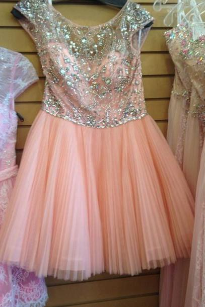 Pink Homecoming Dresses,Homecoming Dresses, Cute Homecoming Dresses,Tulle Homecoming Gowns,Short Prom Gown