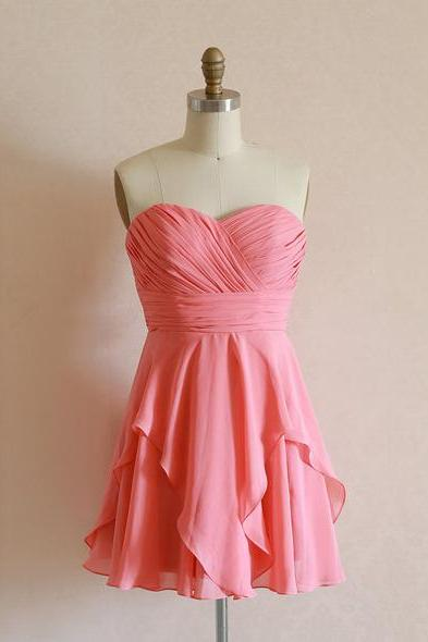 Custom Made Pink Ruffled Sweetheart Neckline Chiffon Formal Dress, Cocktail Dress, Evening Dress, homecoming Dress, Bridesmaid Dress