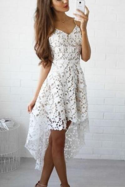 White Homecoming Dress,White Homecoming Dresses,Lace Homecoming Gowns,Party Dress,High Low Prom Gown,Cocktails Dress,Homecoming Dresses