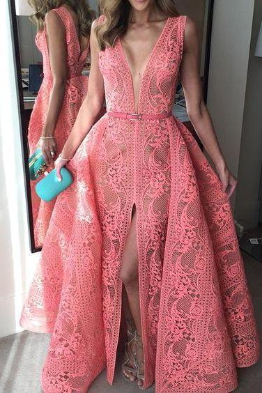 Prom Dresses,Evening Dress,Prom Dresses,Prom Dresses,Sexy Evening Gowns Mermaid Pink Prom Dress, Pageant Gown Lace Bodice, Lace slit Prom gowns