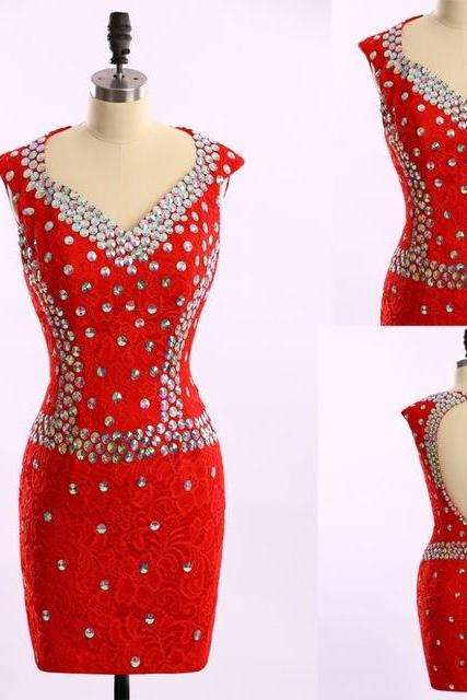 Prom Dresses,New Arrival Elegant Beaded Rhinestone Red Short Prom Dresses Homecoming Dress Short Party Gowns Dresses,Homecoming Dresses