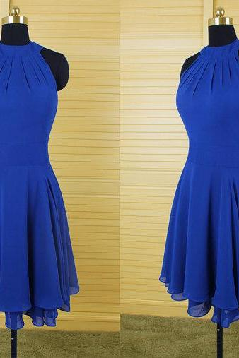 Royal Blue Chiffon Prom Dress,Short Prom Dress,Homecoming Dresses
