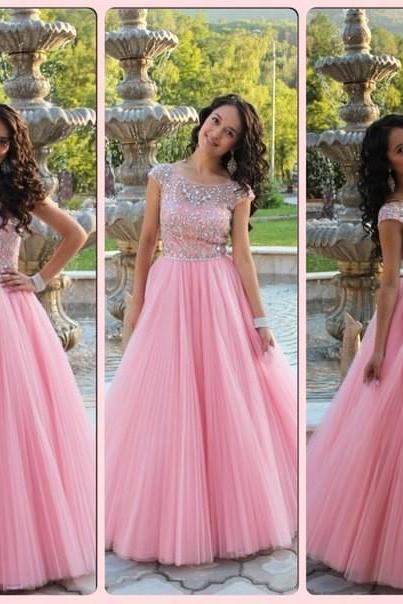 Prom Dresses,Evening Dress,Prom Dresses,Cap Sleeves Prom Dress, Princess Style Pink Prom Dress , Shiny Beading Top Prom Dress , A-Line Floor Length Long Prom Dress
