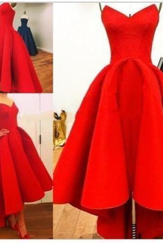 Prom Dresses,Evening Dress,High Low Prom Dresses,Red Prom Gown,Vintage Prom Gowns,Elegant Evening Dress,Cheap Evening Gowns,Simple Party Gowns,Modest Prom Dress