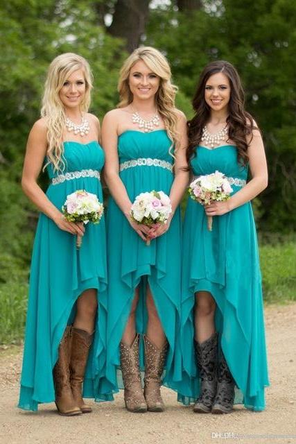 Turquoise Beach Bridesmaid Dresses ,High Low Modest Chiffon Long Wedding Guest Gowns,Bridesmaid Dresses