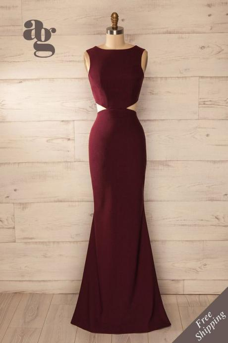 Prom Dresses,Evening Dress,Party Dresses,Charming Prom Dress,Burgundy Prom Dress,Sexy Backless Prom Dress,Long Prom Dress,Evening Formal Dress,Women Dress