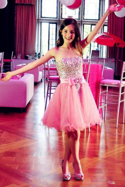 Prom Dresses,Charming Prom Dress,Pink Tulle Prom Dresses,Strapless Homecoming Dress,Short Homecoming Dresses,Homecoming Dresses