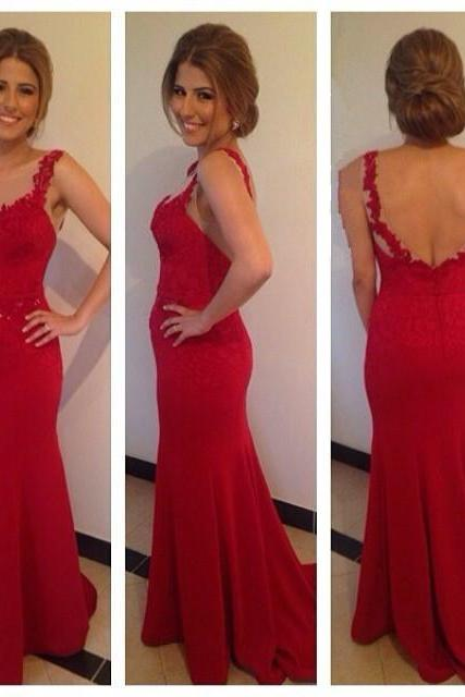 Prom Dresses,Evening Dress,Party Dresses,Backless Spaghett Strap Long Red Mermaid Prom Dresses, High Quality Women Special Occasion Dress Gown