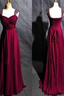 Prom Dresses,Evening Dress,Party Dresses,Charming Prom Dress,Burgundy Chiffon Prom Dress,Long Prom Dress,Beading Evening Dress,Formal Dress