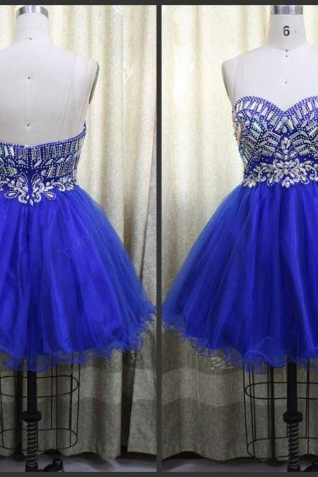 Homecoming Dresses,Tulle Homecoming Dress,Cute Homecoming Dress,Homecoming Dress,Short Prom Dress,Royal Blue Homecoming Gowns,Beaded Sweet 16 Dress