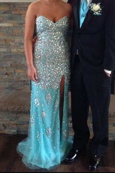 Prom Dresses,Evening Dress,Party Dresses,Blue Prom Dresses,Mermaid Evening Dresses,Side Slit Prom Gowns,Elegant Prom Dress With Beading Rhinestones