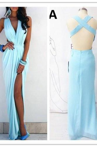 Prom Dresses,Evening Dress,Party Dresses,Prom Dress, Light Blue Prom Dress, V-neck Prom Dress, Ruffles Prom Dress, Sleeveless Prom Dress, Sexy Prom Dress, Side Slit Prom Dress, Beach Evening Gowns, Hot Sale Prom Dress