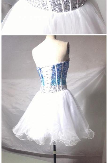 Homecoming Dresses,White Homecoming Dress,Sparkle Homecoming Dresses,Glitter Homecoming Gowns,Short Prom Gown,Sweet 16 Dress,Blue Beading Homecoming Dresses,Tulle Cocktail Dress,Fitted Formal Dress