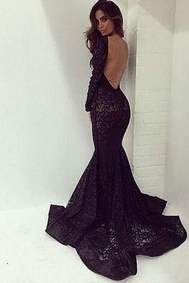 Prom Dresses,Evening Dress,Party Dresses,black long prom dresses,sexy lace backless prom gown,mermaid prom dresses with long sleeves,modest evening gown