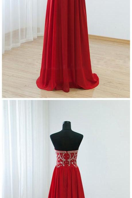 Prom Dresses,Evening Dress,Party Dresses,Sexy Prom Dresses,Red Prom Dress,Chiffon Evening Gown,Long Formal Dress,Beaded Prom Gowns,Evening Dresses