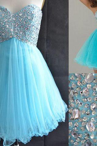 Blue Homecoming Dress,Tulle Homecoming Dresses,Sparkly Homecoming Gowns,2017 Fashion Prom Gown,Sweetheart Sweet 16 Dress, Homecoming Dresses,Tulle Cocktail Dress,Parties Gowns,Evening Gowns