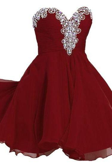 Burgundy Homecoming Dress,Wine Red Homecoming Dresses,Beading Homecoming Gowns,Cute Party Dress,Short Prom Dress,Sweet 16 Dress,Homecoming Dresses,New Style Cocktail Gown