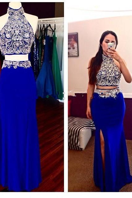 Prom Dresses,Evening Dress,Party Dresses,Royal Blue Prom Dresses,2 Piece Prom Gowns,2 pieces Prom Dresses,Sexy Party Dresses,Long Prom Gown,Chiffon Prom Dress,Beaded Evening Gowns,Beading Formal Gown For Teens