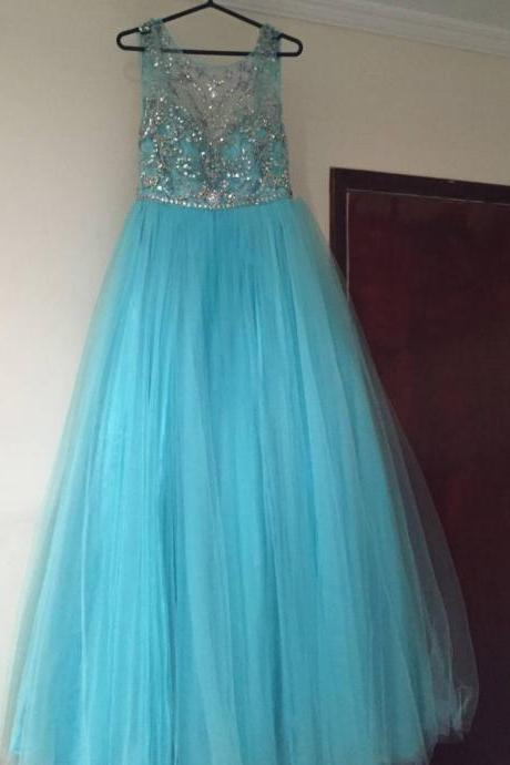 Prom Dresses,Evening Dress,Party Dresses,Blue Prom Dresses,Tulle Prom Dress,Modest Prom Gown,Silver Beaded Prom Gown,Princess Evening Dress,Ball Gown Evening Gowns,Beaded Party Gowns
