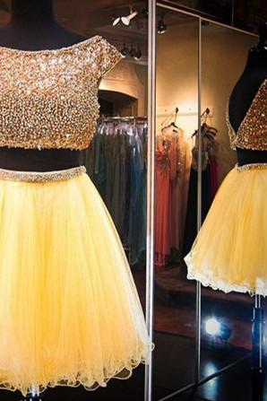 Homecoming Dresses,Pink Homecoming Dress,2 Piece Homecoming Dresses,Beading Homecoming Gowns,Short Prom Gown,Sweet 16 Dress,Bling Homecoming Dress,2 pieces Cocktail Dress,Yellow Evening Gowns