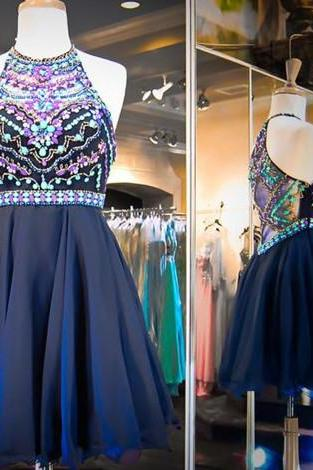 Homecoming Dresses,Chiffon Homecoming Dress,Cute Homecoming Dress,Homecoming Dress,Short Prom Dress,Navy Blue Homecoming Gowns,Beaded Sweet 16 Dress