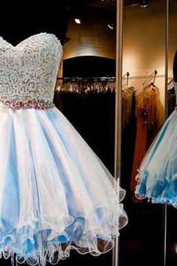 Homecoming Dresses,Lace Homecoming Dress,Blue Homecoming Dress,Fitted Homecoming Dress,Short Prom Dress,Homecoming Gowns,Cute Sweet 16 Dress For Teens