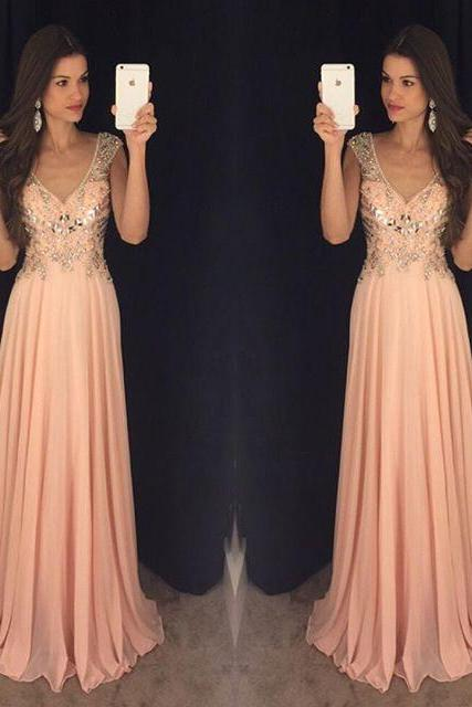 Prom Dresses,Evening Dress,Party Dresses,Backless Prom Dresses,Beading Prom Dress,Open Back Formal Gown,Open Backs Prom Dresses,Sexy Evening Gowns,Chiffon Formal Gown,Blush Pink Evening Party Gowns For Teens