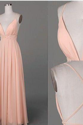 Prom Dresses,Evening Dress,Party Dresses,Pink Prom Dresses,Long Prom Gown,Chiffon Prom Gowns,Simple Bridal Dress,Evening Dress,Elegant Formal Dress,Backless Prom Gowns