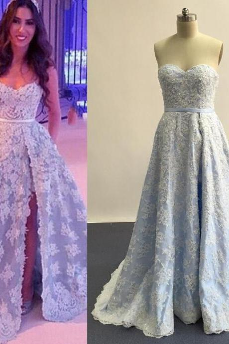 Prom Dresses,Evening Dress,Party Dresses,Lace Prom Dresses,Light Sky Blue Prom Dress,Modest Prom Gown,A Line Prom Gown,Lace Evening Dress,Evening Gowns,Lace Party Gowns